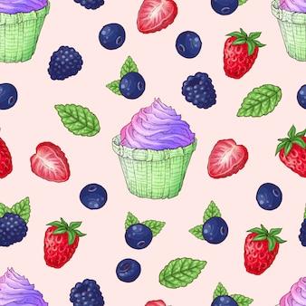 Naadloze patroon cupcakes aardbei frambozen kersen.