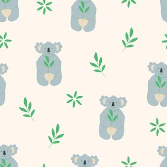 Naadloze patroon cute cartoon karakter koala met een takje groene eucalyptus bladeren. vector illustratie.