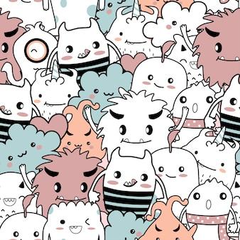Naadloze patroon cute monster cartoon