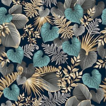 Naadloze patroon donkere bladeren palmbomen, lianen