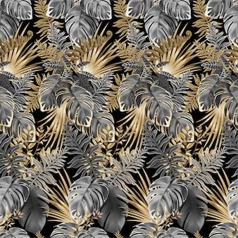 Naadloze patroon donkere bladeren van tropische planten.
