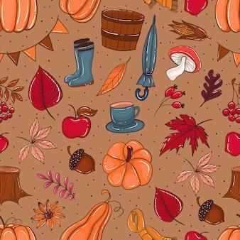 Naadloze patroon doodles herfst element