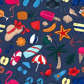 Naadloze patroon doodles zomer element