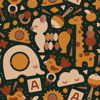 Naadloze patroon eco houten baby speelgoed neutrale kleuren