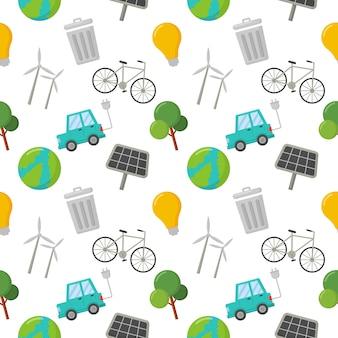 Naadloze patroon ecologie pictogrammen. groene energie, eco op wit wordt geïsoleerd.