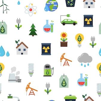 Naadloze patroon ecologie plat gekleurde pictogrammen