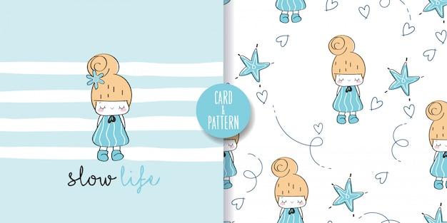 Naadloze patroon en illustratie met schattig klein meisje