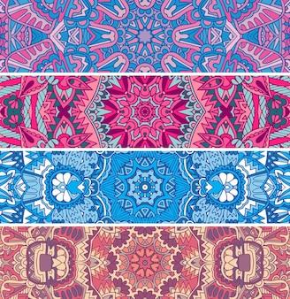 Naadloze patroon etnische psychedelische kleurrijke banner set