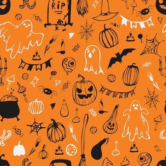 Naadloze patroon. fijne halloween. pompoenen, spoken, bolhoed, snoep, spinnenwebben. vector illustratie.