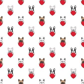 Naadloze patroon franse bulldog met hart