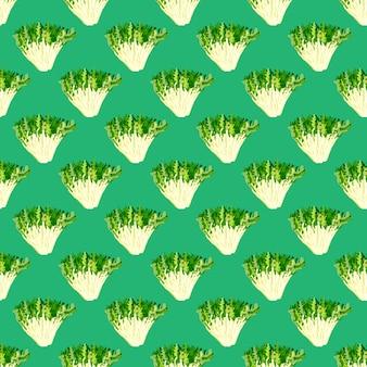 Naadloze patroon frisee salade op turkooizen achtergrond. eenvoudig ornament met sla. geometrische plant sjabloon voor stof. ontwerp vectorillustratie.