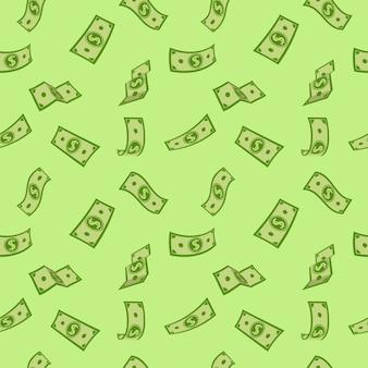 Naadloze patroon geld groene platte cartoon stijl.
