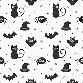 Naadloze patroon gelukkig halloween pictogrammen geïsoleerd op een witte achtergrond.