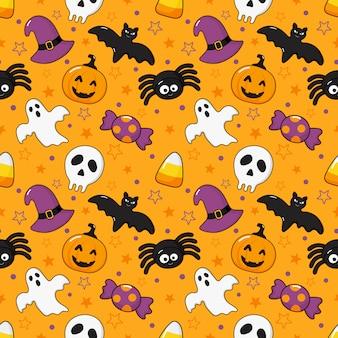 Naadloze patroon gelukkig halloween pictogrammen geïsoleerd op oranje