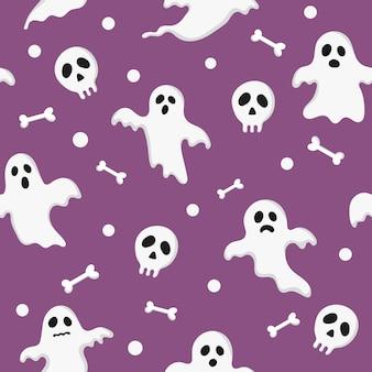 Naadloze patroon gelukkig halloween pictogrammen geïsoleerd op paars.