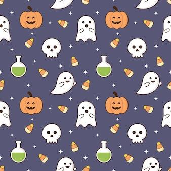 Naadloze patroon gelukkig halloween pictogrammen geïsoleerd op paarse achtergrond.