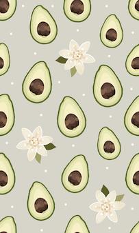 Naadloze patroon gesneden avocado met bloem