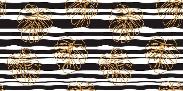 Naadloze patroon glitter monstera van het textuur gouden tropische lijnblad