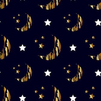 Naadloze patroon, gouden maan en sterren. sterrenhemel. vector, illustratie