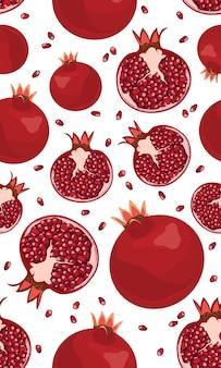 Naadloze patroon granaatappel vruchten en zaden