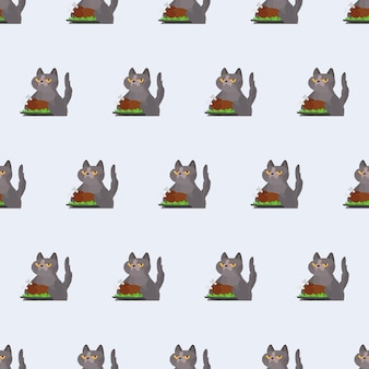 Naadloze patroon grappige kat houdt een gebraden kalkoen. een kat met een grappige blik houdt een gebakken kip vast. goed voor achtergronden, kaarten en prints met een zomers thema. vector.