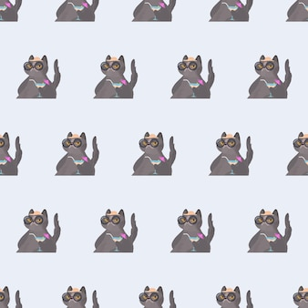 Naadloze patroon grappige kat met een cocktail. kat in glazen en een hoed. goed voor achtergronden, kaarten en prints met een zomers thema. vector.