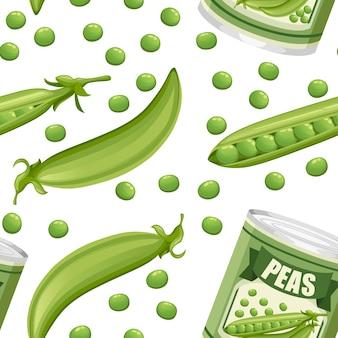 Naadloze patroon. groene erwten in aluminium blik met peul. ingeblikt voedsel met erwtenlogo. product voor supermarkt en winkel. illustratie op witte achtergrond.