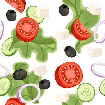 Naadloze patroon. groentesalade recept. grieks salade ingrediënt. verse groenten cartoon design eten. vlakke afbeelding op witte achtergrond.