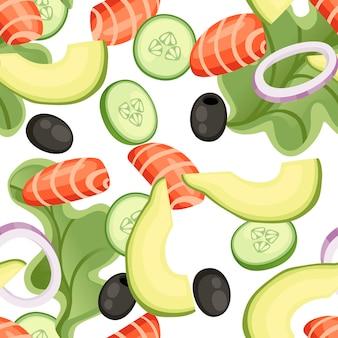 Naadloze patroon. groentesalade recept. zeevruchtensalade ingrediënt. verse groenten cartoon design eten. vlakke afbeelding op witte achtergrond.
