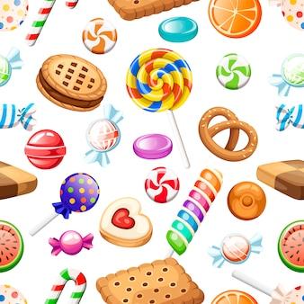 Naadloze patroon. grote verzameling van verschillende snoepjes en koekjes in cartoon-stijl. verpakt en geen lolly's, suikerriet. leuke glanzende snoepjes. plat kleurrijke pictogrammen. illustratie op witte achtergrond.
