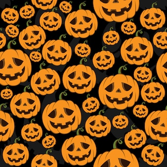 Naadloze patroon halloween-pompoenen