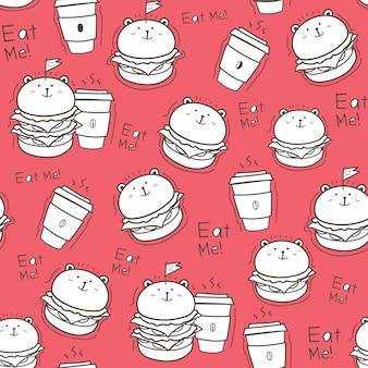 Naadloze patroon hamburger achtergrond.