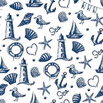 Naadloze patroon hand getekend zee thema-objecten.