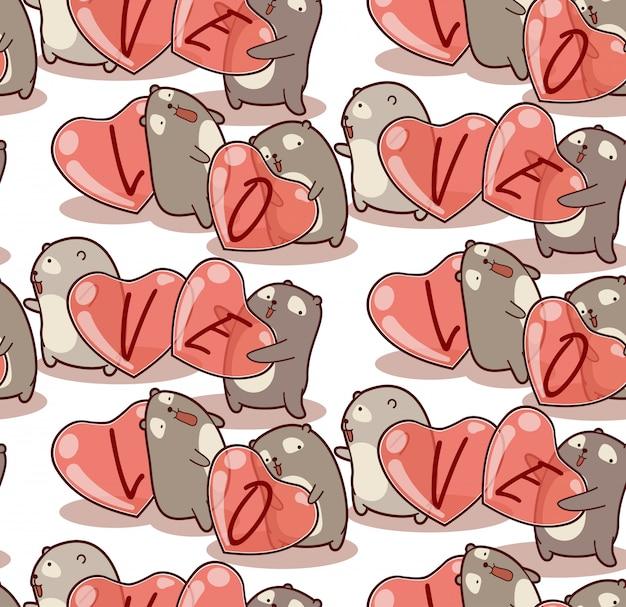 Naadloze patroon hand getrokken beer draagt hart