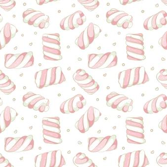 Naadloze patroon hand getrokken marshmallow