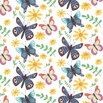 Naadloze patroon heldere vlinders wilde bloemen