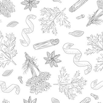 Naadloze patroon herfst thee op witte achtergrond. mooie textuur kruiden voor het verpakken van thee.