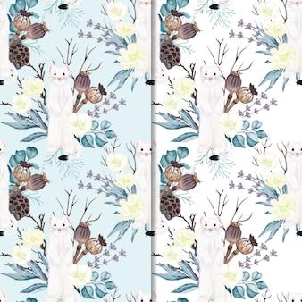 Naadloze patroon hermelijn met bloemen