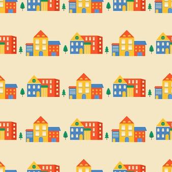 Naadloze patroon huizen en straten, daken van de bouw. leuke stadsgezicht kleurrijke achtergrond voor kinderen textiel, inpakpapier, textielontwerp. vectorachtergrond met stad en bomen