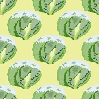 Naadloze patroon ijsberg salade op beige achtergrond. eenvoudig ornament met sla. geometrische plant sjabloon voor stof. ontwerp vectorillustratie.