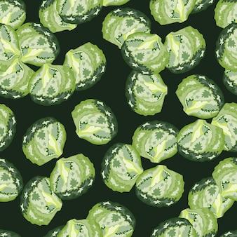 Naadloze patroon ijsberg salade op donkere achtergrond. modern ornament met sla. willekeurige plantsjabloon voor stof. ontwerp vectorillustratie.