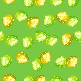 Naadloze patroon ijsberg salade op helder groene achtergrond. modern ornament met sla.