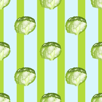 Naadloze patroon ijsberg salade op strepen achtergrond. eenvoudig ornament met sla. geometrische plant sjabloon voor stof. ontwerp vectorillustratie.