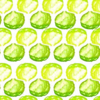 Naadloze patroon ijsberg salade op witte achtergrond. eenvoudig ornament met sla.