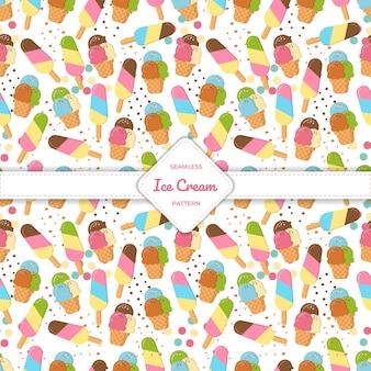 Naadloze patroon ijsje, beker en stok