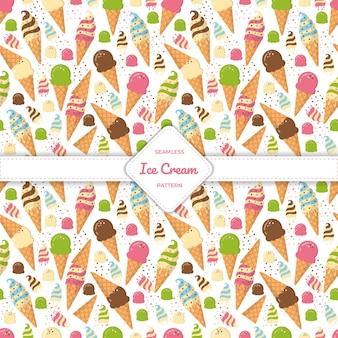 Naadloze patroon-ijsje platte ontwerp pastel kleurrijke zomer.