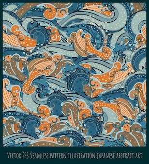 Naadloze patroon illustratie abstracte kunst, afgeronde vormen, overlappende.