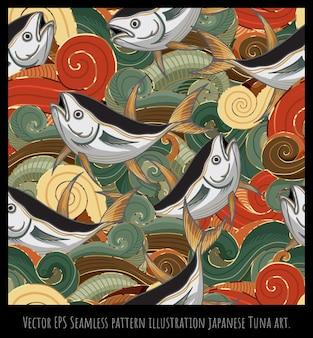 Naadloze patroon illustratie japanse oude stijl kunst, vis zee golfvormen overlappen.