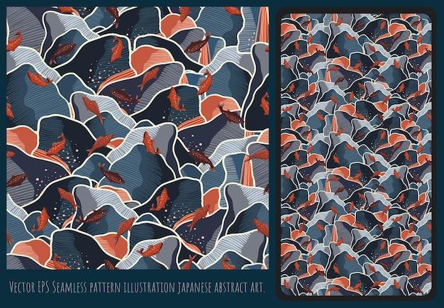 Naadloze patroon illustratie japanse stijl kunst, bergvormen, overlappend.