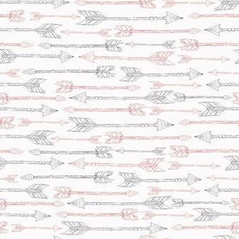 Naadloze patroon in boho-stijl met pijlen